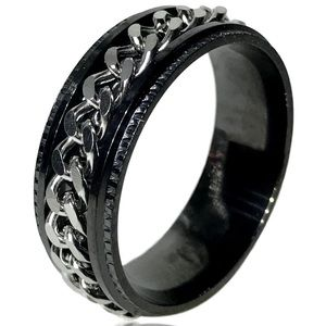 Men's Punk Rock Spinner Silver Woven Chain Ring
